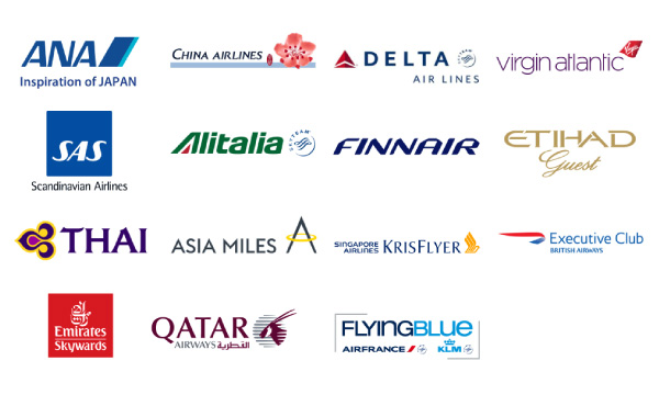 提携航空のロゴ:ANA, CHINA AIRLINES,DELTA AIR LINES,virgin atlantic, SAS,Alitalia,FINNAIR,ETIHAD Quest,THAI,ASIA MILES,KRIS FLYER, Executive Club,Emirates Skywards,OATAR,FLYING BLUE